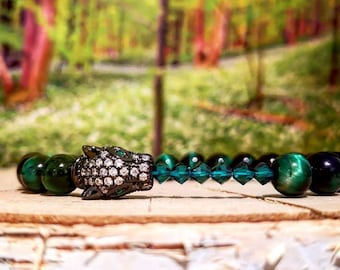 Green swarovski leopard bracelet, Luxury beaded bracelet for him and her, Green swarovski, Black leopard, Gift for him and her