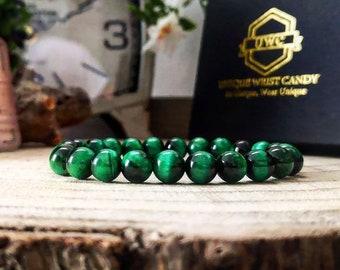 Motivation bracelet for her and him, Green tiger's eye bracelet, Stamina bracelet, Strength jewelry, Stamina jewelry