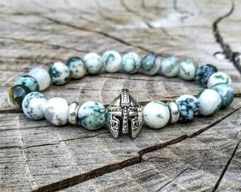 Viking bracelet, Viking beaded bracelet, Men gladiator beaded bracelet, Spartan beaded bracelet, Green bracelet men, Helmet bracelet men