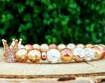 Orange crown bracelet, Gift bracelet for women, Woman bracelet, Beaded bracelet, Luxury beaded bracelet