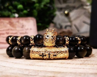 Gold obsidian luxury lion gift set, Golden luxury bracelets, Christmas gift, Gift for him and her, Bracelets gift set