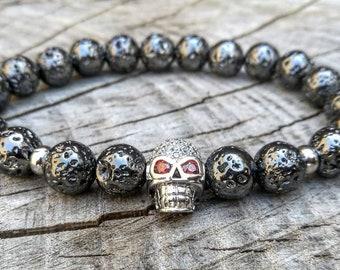 Skull bracelet, Lava stones, Men's bracelets, Men's jewelry, Beaded lava bracelet, Grey skull bracelet, Gift for him, Gift for her