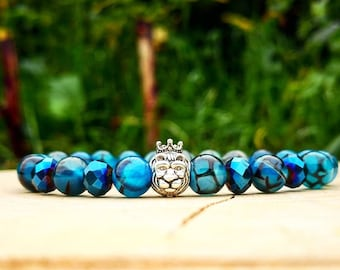 Lion king, Lion bracelet, Animal bracelet, Blue dragon bracelet, Bracelet for him and her, Birthday gift, Stretch bracelet, Beaded bracelet