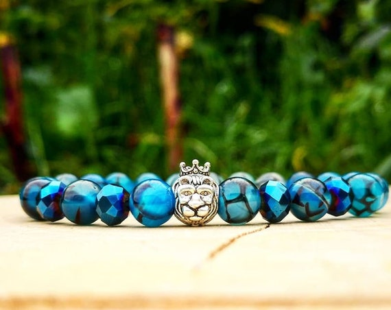 Lion king, Lion bracelet, Animal bracelet, Blue dragon bracelet, Bracelet for him and her, Birthday gift, Stretch bracelet, Beaded bracelet