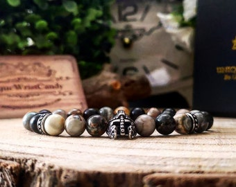 Stainless steel mens bracelet, Warrior bracelet, Helmet bracelet, Beaded bracelet for husband, Gift for men, Mens bracelet, Mens jewelry