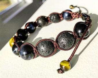 Mens shamballa bracelet, Men's braided bracelet, Gift for him, Mens jewelry, 12 mm Tiger eye beads, Lava beads