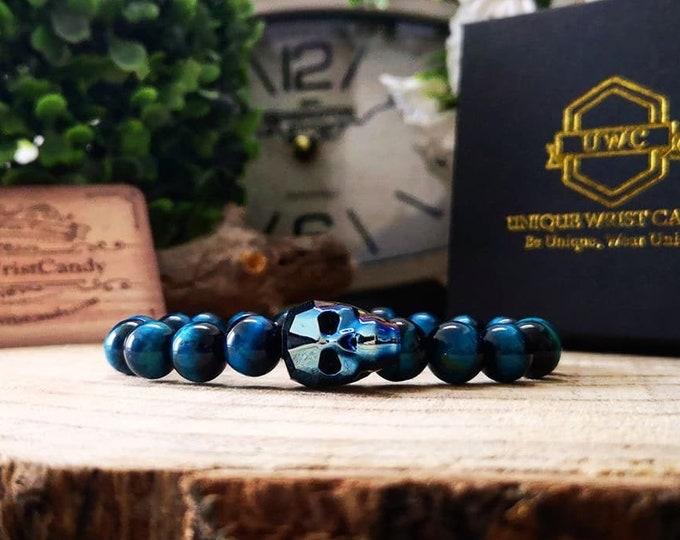 Featured listing image: Crystal skull bead bracelet, Swarovski skull, Swarovski jewel, Tiger eye bracelet, Gift for him, Gift for her, Gift ideas