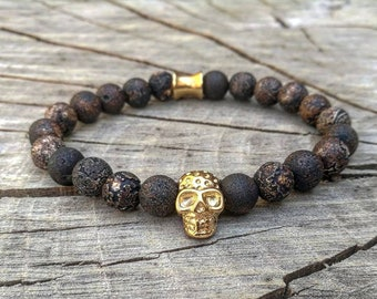 Golden skull beaded bracelet for men, Stainless steel, Wooden beaded bracelet, Gift for him and her, Stretch bracelet for men and women