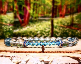 Blue swarovski bracelet, Swarovski crystals, Crystal bracelet, Birthstone bracelet, Bridesmaids bracelet, Beaded bracelet, Bridesmaid gift