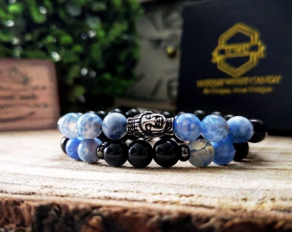 Buddha bracelet gift set, Set for men and women, Mens stone bracelet, Gift for him and her, Black Friday, New year, Christmas