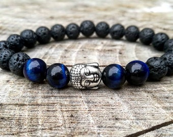 Blue Tiger Eye Bracelet Grade AA Meditation Bracelet Handmade Gemstone Stretch Bracelet Crystal Healing Chakra Balancing Buddha bracelet