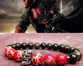 Hellboy, Men's bracelet, DC Comics bracelet, Hero bracelet, Gift for him and her, Women hellboy beaded bracelet, Gift bracelet
