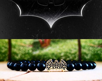 Batman bracelet, Men's bracelet, DC Comics bracelet, Hero bracelet, Gift for him and her, Women batman beaded bracelet, Gift bracelet