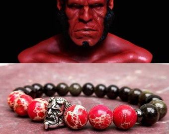 Men's hellboy beaded bracelet, DC Comics bracelet, Hero bracelet, Gift for him and her, Women hellboy beaded bracelet, Gift bracelet