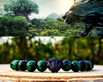 Black panther bracelet, Marvel bracelet, Marvel gift, Bracelet for men and women, Beaded bracelet, Gift bracelet for him and her