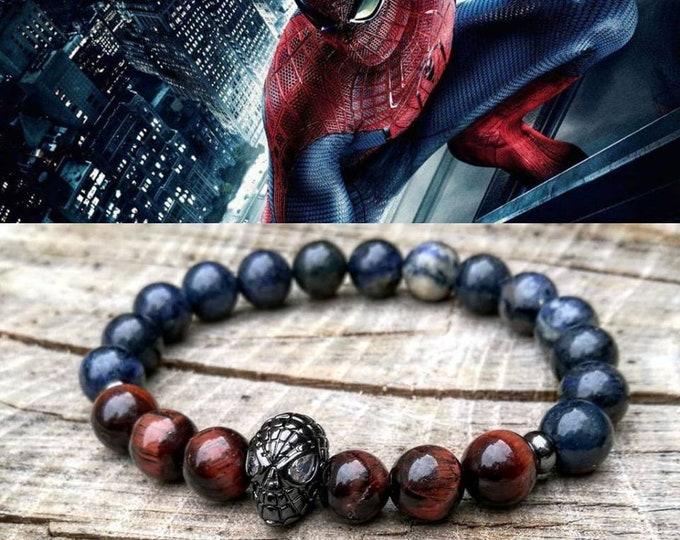 Featured listing image: Spiderman, Spiderman bracelet, Marvel bracelet, Hero bracelet, Mens beaed bracelet, Tiger eye, Father day gift, Stretch bracelet, Comic con
