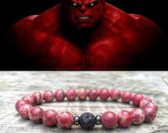 Hulk, Red hulk bracelet, Hulk bracelet, Marvel bracelet, Gift for men, Comics, Marvel universe, Marvel gift, Men bracelet, Men jewelry