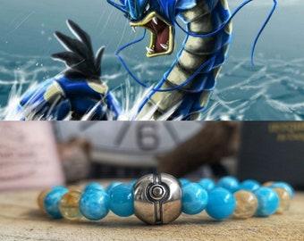 Pokémon, Gyarados Pokémon bracelet, Pokémon jewelry, Pokémon gift bracelet, Pokémon beaded bracelet, Gift for him and her