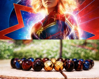 Captain Marvel bracelet, Marvel bracelet, Marvel comics, Marvel gift, Marvel beaded bracelet, Marvel jewelry
