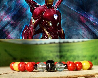 Iron Man bracelet, Marvel bracelet, Marvel comics, Marvel gift, Marvel beaded bracelet, Marvel jewelry, Avengers Endgame