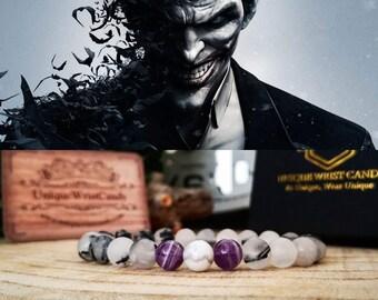 The Joker bracelet, DC Comics bracelet, Bracelet for men, Gift for him, Birthday, DC Comics, Beaded bracelet, Black bracelet
