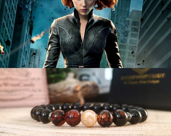 Black Widow Marvel bracelet, Marvel gift beaded bracelet, Black Widow beaded jewelry, Marvel gift ideas, Natasha Romanoff