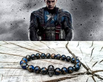 Captain America bracelet, Superhero bracelet, Marvel bracelet, Bracelet for men, Bracelet for women, Gift for him, Gift for her
