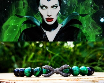 Maleficent, Maleficent bracelet, Disney villain, Disney princess, Disney gift bracelet, Green and black bracelet