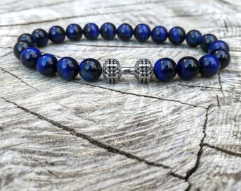 Dumbbell beaded bracelet for men and women, Gym bracelet, Fitness  bracelet, Power bracelet, Fit bracelet, Father's day gift, Blue bracelet