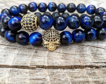 Golden skull with blue tiger eyes bracelet, Handmade skull bracelet, Handmade gift, Mens bracelet, Mens jewelry