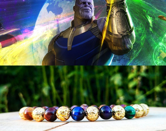 Featured listing image: Thanos marvel bracelet, Infinity bracelet, Infinity stones, Comic bracelet, Thanos infinity gauntlet, Gift for men, Marvel gift, Birthday