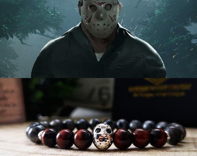 Featured listing image: Jason Voorhees bracelet, Halloween bracelet, Halloween jewelry, Horror jewellery, Movie bracelet, Friday the 13th, Perfect gift, Gift ideas