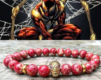 Spiderman bracelet, Men's bracelet, Marvel bracelet, Hero bracelet, Men beaded bracelet,  Father's day gift, Stretch bracelet, Marvel comics
