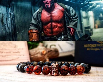 Hellboy bracelet, Hellboy jewelry, Dark Horse Comics, Superhero bracelet, Gift for him and her, Hellboy beaded bracelet, Gift
