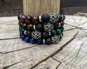Tiger eye bracelet, Mens lava bracelet, Gift for men, Women bracelet, Men jewelry, Watch bracelet, Lava bracelet, Zen bracelet