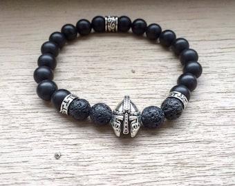 Men viking bracelet, Spartan bracelet, Gladiator bracelet, Helmet beaded bracelet, Men bracelet, Viking jewelry, Black viking bracelet
