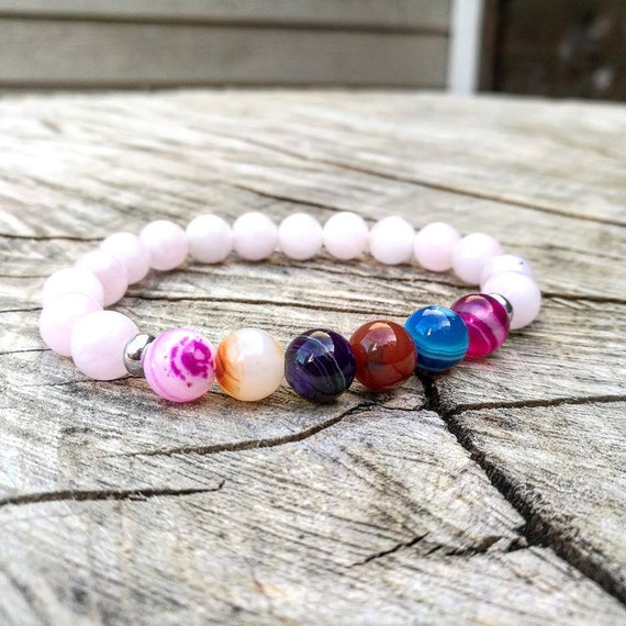 Pink agate bracelet, Gemstone bracelet for women, Mens beaded bracelet, Yoga bracelet, Stretch bracelet, Gift for him and her