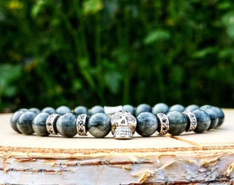 Silver beaded skull bracelet for men and women, Gift for him and her, AAA Hawkeyes beads, Stretch bracelet, Jewelry for men