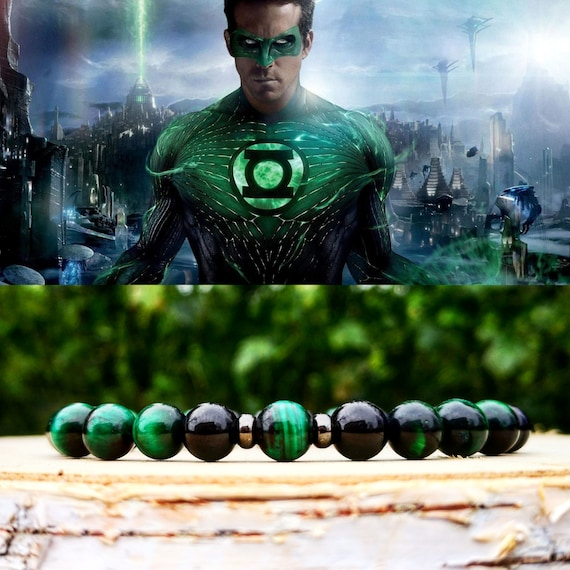 Green lantern bracelet, DC Comics bracelet, Bracelet for men, Gift for him, Birthday, DC comics, Beaded bracelet, Stretch jewelry