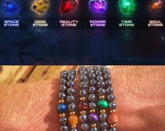 All six Infinity stones, Set Marvel Infinity stones, Marvel gift set, Infinity stones gift set, Gift for him or her, Marvel bracelets