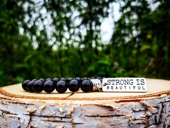 Gym bracelet, Fit bracelet, Fitness bracelet, Strong is beautiful, Women bracelet, Mens bracelet, Beaded bracelet, Cross fit bracelet