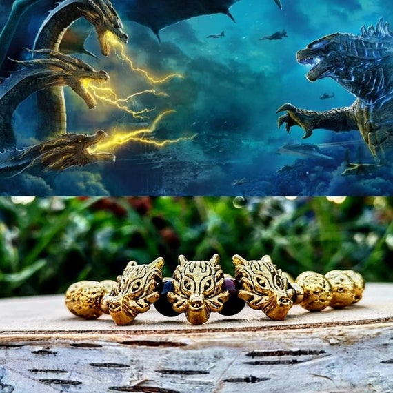 King Ghidorah Godzilla bracelet, King of the monsters, Movie bracelet, Beaded gift bracelet, Dragon bracelet, Gift for him and her