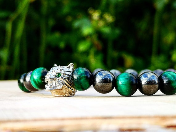 Wolf bracelet, Wolf beaded bracelet, Bracelet for men and women, Beaded bracelet for him and her, Gift for him and her, Motivation bracelet