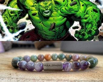 Hulk Smash Bracelet, Marvel comics jewelry, Marvel bracelet, Hulk jewelry, Beaded hulk bracelet, Marvel gift, Marvel Hulk bracelet