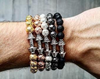 Fitness dumbbell bracelet for men and women, Lava beads gym bracelet, Bodybuilding bracelet, Fitness gift for him and her