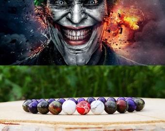 The Joker bracelet, DC Comics bracelet, Bracelet for men, Gift for him, Birthday, DC Comics, Beaded bracelet, Pruple bracelet