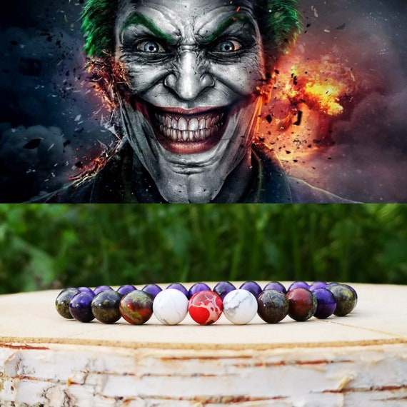 The Joker bracelet, DC Comics bracelet, Bracelet for men, Gift for him, Birthday, DC Comics, Beaded bracelet, Pruple bracelet