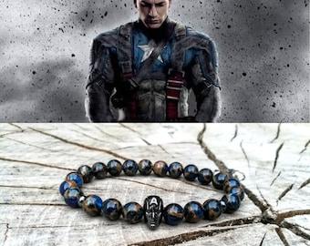 Captain America bracelet, Superhero bracelet, Marvel bracelet, Bracelet for men, Bracelet for women, Gift for him, Gift for her