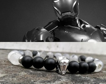 Iron Man, Ironman, Iron man bracelet, Marvel bracelet, Bracelet for men and women, Black bracelet for men, Gift bracelet for him and her