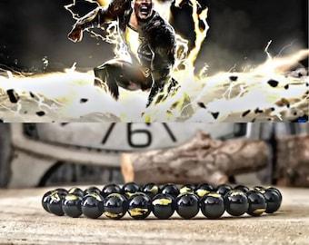 Black Adam DC Comics bracelet, Super villain bracelet, Shazam bracelet, Comic bracelet gift, Gift for him and her, Beaded gift bracelet